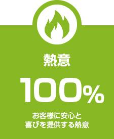 熱意 100% お客様に安心と喜びを提供する熱意